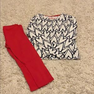 Kids Club 4T Top With Red Leggings NEW WITH TAGS
